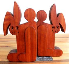 Hand-Made Wooden Rabbit Bookends by TidepoolSupplyCo on Etsy Wooden Rabbit, Bookends, Etsy Shop, Vintage, Storage, Unique Jewelry, Handmade Gifts, Beautiful, Craft Gifts
