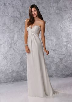 Sweetheart Strapless Beaded A-Line Chiffon Wedding Dresses With Sweep Trailing For Bride