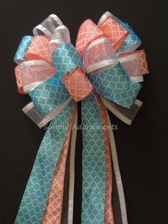 Coral Turquoise Wedding Pew Bow Coral Blue by SimplyAdornmentsss