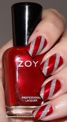 christmas sparkly candy cane inspired design - we think this would also look lovely as an accent nail with silver sparkle tips for the other nails...x
