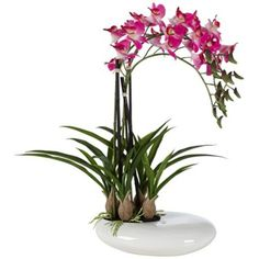 Three Stem Faux Purple Orchid in White Pot -