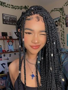 # box Braids blackgirl Huge 2020 Hairstyle List: The 9 Hottest Trends To Be Obsessed With Black Girl Braided Hairstyles, Black Girl Braids, Girls Braids, Cute Box Braids Hairstyles, Protective Hairstyles, Trendy Hairstyles, Kids Box Braids, Protective Style Braids, Natural Braided Hairstyles