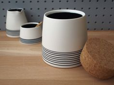 Corked Porcelain Canister / Storage Jar / Vase by ByTheLinePottery