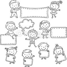Ten happy cartoon kids, black and white outline. Doodle Drawings, Easy Drawings, Doodle Art, Happy Cartoon, Cartoon Kids, Drawing For Kids, Art For Kids, Cartoon Pencil Drawing, Pencil Drawings