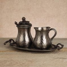 New from The GG Collecton: Antique Silver Cream & Sugar Set. All the hallmarks are present – rim beading, rolled and scrolled handles and the ever present lid ornamentation, $130.00