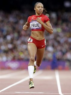 United States' Allyson Felix competes in a women's 200-meter heat during the athletics in the Olympic Stadium at the 2012 Summer Olympics.