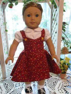 Heres a fun, 50s Sock Hop look for your 18 American Girl doll, based on a pattern by Heritage Doll Fashions. The jumper is made with wonderful, premium cotton print. The fully lined, 5 gore, flared jumper has yellow buttons to secure the straps in front that match the tiny yellow florals