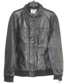 Boston Harbour Men's Leather Bomber Jacket - Black XL