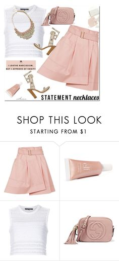 """""""Statement Necklace"""" by arethaman ❤ liked on Polyvore featuring Balenciaga, Isabel Marant, Thakoon, Gucci, Diana Vreeland, alineskirt, statementnecklaces, isabelmarantsandals and knitcroptop"""