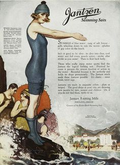 A beautifully illustrated Jantzen ad from 1921. #vintage #1920s #summer #beach #swimsuit #ad