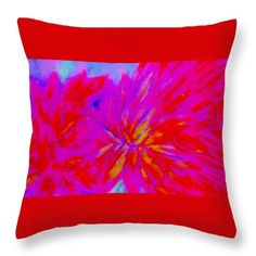 Pink And Red Throw Pillow by Stephanie Zelaya