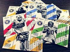 NFL pro football alternative vintage playing card design - Panini America Card Designs by Steve Wolf, via Behance