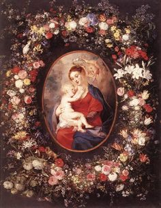 The Virgin and Child in a Garland of Flower, 1621, Peter Paul Rubens  Size: 65x83.5 cm  Medium: oil, canvas