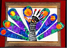 P is for peacock.  Handprint body, painted A3 sheet cut for feathers.  Clever!