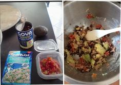 High Protein Lunch -  1/2 Avocado - Black Beans - Pouch Of Tuna Fish - Rotel & Mix. This is high protein so this is best as a lunch rather than a dinner. You can eat it plain or use chips of your choice to dip.