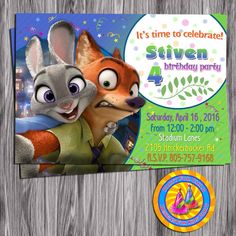 Zootopia Birthday Invitation.