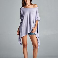 """""""Chase the Wind"""" Asymmetrical Tunic Top Gorgeous tunic top that looks and feels amazing. Excellent draping to fit anybody! Material is slightly heavy. Available in navy blue, charcoal, dusty pink, lilac and heather grey. This listing is for the LILAC. One size fits most. Brand new without tags. Bare Anthology Tops Tees - Short Sleeve"""