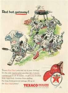 Texaco Ad Cute Dalmation Puppies Barbeque Chef (1956)