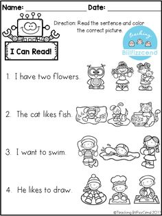 Reading comprehension check for Preschool, Kindergarten, English Language Learners or struggling first grade.