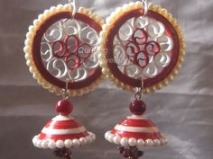 paper quilled jhumkas with beads work