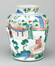 A wucai 'figural' jar, Qing dynasty, 19th century