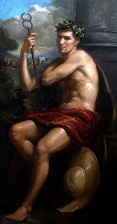 Triumph of Hermes, oil on linen, 95cm x 179cm, by Matthew James Collins