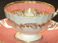 Aynsley Pink Snowy simplyTclub Tea cup and saucer Coffee Cups And Saucers, Teapots And Cups, Teacups, Tea Cup Set, Tea Cup Saucer, Tea Art, China Patterns, Tea Recipes, High Tea