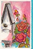 """Pink Rose Beautys w:Birdhouse"" by Celesa Lucien Watercolor ~ 8.5"" x 6"""