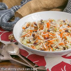 Easy Coleslaw | A simple vinaigrette plus craisins and walnuts make a fabulous salad! from thatskinnychickcanbake.com @lizzydo