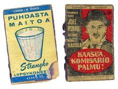 Mainostila minikoossa – vanhoja tulitikkuetikettejä Vintage Ads, Finland, Nostalgia, Baseball Cards, Retro, Books, Fire, Museum, Libros