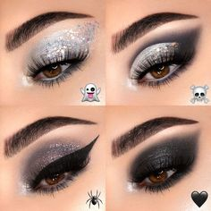 We've got the smokin' looks 💨🖤 Smoke Show Palette 4 WAYS! Which look would you wear this spooky season? 👇 Vote in EMOJI below! Featuring: Smoke Show Collection - - Jeffree Star Eyeshadow, Grey Eyeshadow, Colourpop Eyeshadow, Colourpop Cosmetics, Eyeshadow Looks, Eyeshadows, Goth Makeup, Makeup Dupes, Makeup Brands