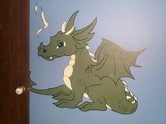 Medieval bedroom dragon mural (the dragon was from a picture I found online.  It was not my original design).