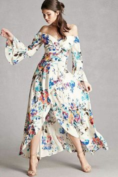 Off the Shoulder, Bell Sleeved, Floral Maxi Dress