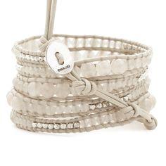 Doeskin Graduated Wrap Bracelet with Silver Nuggets on Petal Leather - Chan Luu