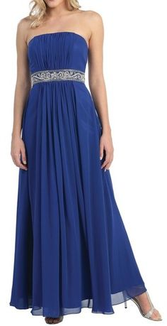 New Stunning Coral Royal or Teal Strapless Chiffon full length gown XS to 3XL