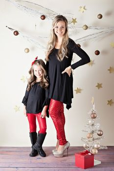 Girls Red Sequin Legging - Ryleigh Rue Clothing by MVB