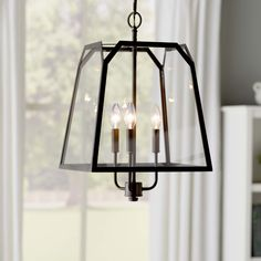 Features:  -Style: Traditional.  -Bulb type: 60W Candelabra base bulb.  Product Type: -Foyer pendant.  Shade Color: -Clear.  Bulb Type: -Incandescent.  Number of Lights: -3.  Shade Material: -Glass.