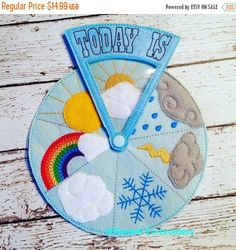 Weather Wheel Felt Preschool Kindergarten by RosieKEmbroidery - # Felt . - Weather wheel felt preschool kindergarten by RosieKEmbroidery – # felt - Kids Crafts, Felt Crafts, Diy And Crafts, Baby Quiet Book, Quiet Book Patterns, Felt Quiet Books, Busy Book, Preschool Activities, Preschool Kindergarten