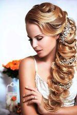 Bridal Crystal & Pearl Wedding Proms Gold silver Hair Vine Headband Tiara Crown