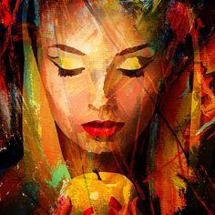 Lydia Anneli Bleth: BELLA DONNA digital art - Die Dame mit dem Apfel