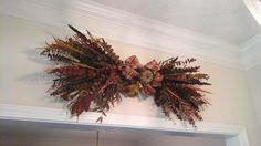 Fall Eucalyptus Swag, Autumn, Thanksgiving Grapevine Wreath, Rustic, Country Dried Floral Arrangement, Kitchen, Mantel, Wall Arrangement by GiftsByWhatABeautifu on Etsy