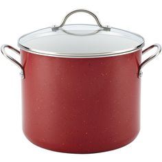 Farberware New Traditions Speckled Aluminum Covered Stockpot, Red/White, 12 qt. - Red/White featuring polyvore, home, kitchen & dining, cookware, oven safe cookware, nonstick cookware, farberware cookware set, aluminum cookware sets and aluminium cookware