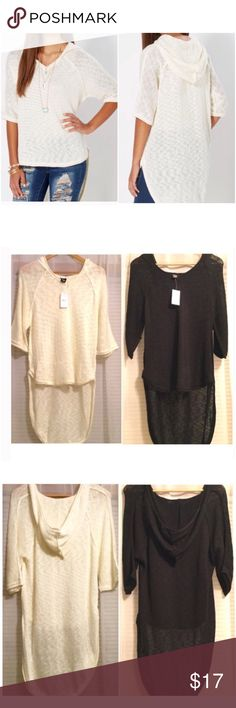 Hi Lo Open Knit Hoodie Brand new with tag. Ivory and black available. No longer available in stores. 60% cotton 40% acrylic. Size medium. Rue 21 Tops Sweatshirts & Hoodies