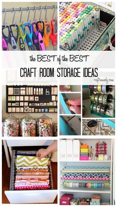 The Best of the Best Craft Room Storage Ideas. Storage space for scissors, sketch markers, stamps, ribbon, thread, fabric and more!