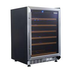 Husky Vino Pro Under Bench Wine Refrigerator 46 Bottle Stainless Trim Door Triple Glazed With Lock