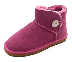 CHFSO Womens Trendy Solid Fully Faux Lined Single Button Ankle High Pull On Warm Winter Snow Boots Rose Red 55 BM US -- See this great product.