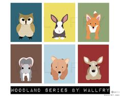 Deer woodland nursery decor print Forest animal nursery by Wallfry, $18.00