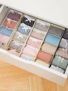 Shop Multi-compartment Underwear Storage Box at ROMWE, discover more fashion styles online. Underwear Storage, Underwear Organization, Diy Organizer, Wardrobe Organisation, Closet Organization, Makeup Organization, Konmari, Rangement Makeup, Sock Storage