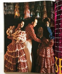 💃🏻🔴💃🏻⚪️💃🏻🔴💃🏻Christian Lacroix trying on models Magali Amadei and Dorothy flamenco dresses at El Arenal boutique in Seville, 📸by Pascal Chevalier - Glamour France December 1991/ Janvier 1992 from my collection.  #christianlacroix #lacroix #seville #sevilla #flamenco #batadecola #andalucia #flamenca #olé #topos #alexiasilvagni #lunares #polkadots #costume #costumehistory #glamourmagazine #glamourfrance #pascalchevalier #fashionphotography #fashionhistory #dresshistory…