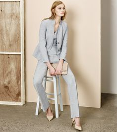 A grey powersuit to rule the office.